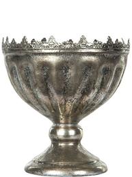 Kruka på fot antik silver plåt med spetskant dekorerad shabby chic lantlig stil