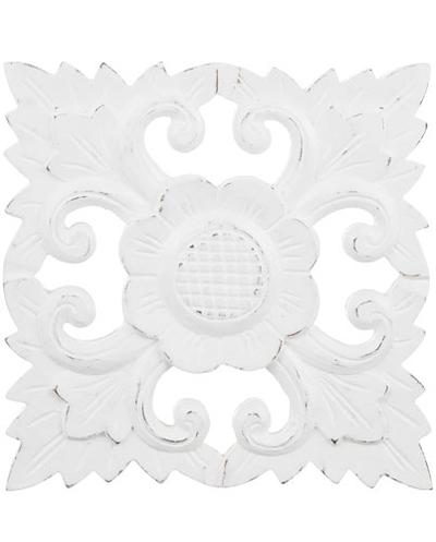 Handgjord tempeltavla trädekoration utskuren vit shabby chic lantlig stil