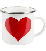 Mugg emalj rött hjärta shabby chic lantlig stil fransk lantstil