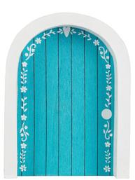 Liten blå dörr för älvorna dekoration trä shabby chic lantlig stil