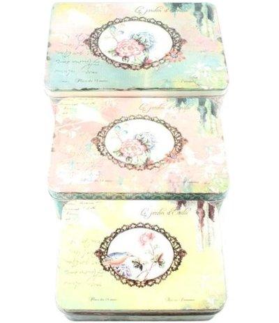 Plåtburk 3 storlekar vintage lapptäcksmönster rosa gul turkos shabby chic lantlig stil