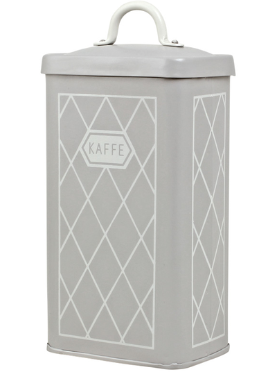 Gammaldags plåtburk Kaffe Grå med knopp lantlig stil shabby chic lantstil