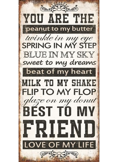 Plåtskylt med magnet you are the peanut to my butter shabby chic lantlig stil
