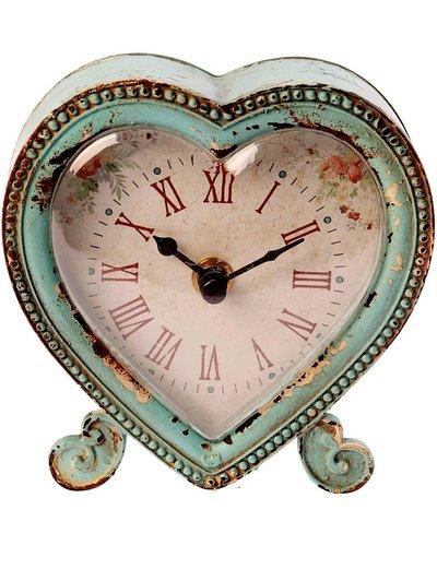 Bordsur klocka bordsklocka Hjärta turkos plåt rosor shabby chic lantlig stil