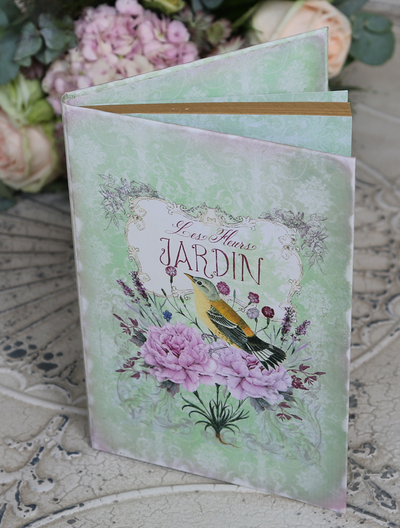 Anteckningsbok notebook Vintage blommor shabby chic lantlig stil