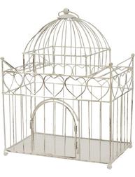 Fågelbur Palats vit romantisk sirlig prydnadsbur shabby chic lantlig stil
