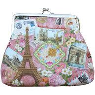 Börs rosa knäppe portmonnä sminkväska Paris rosor shabby chic lantlig stil