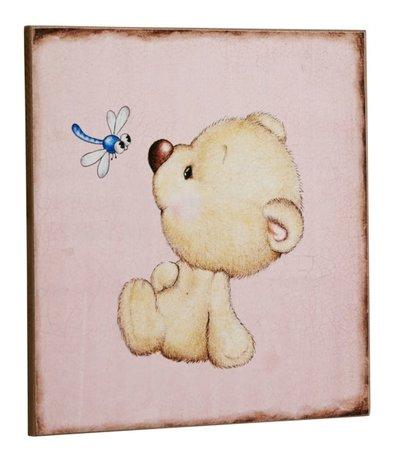 Tavla nallebjörn trollslända rosa shabby chic lantlig stil