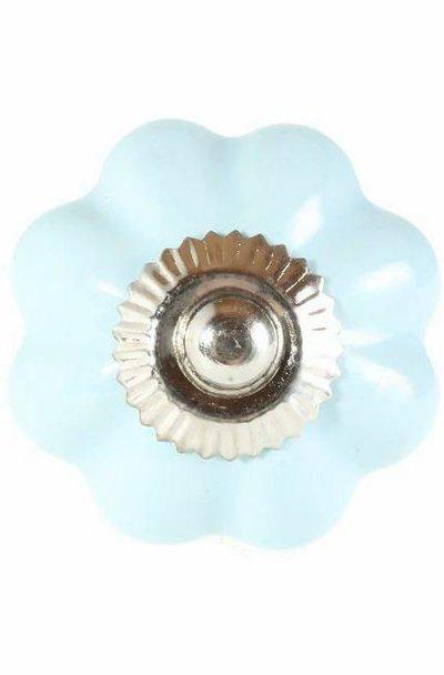 Porslinsknopp ljusblå turkos lökknopp shabby chic lantlig stil