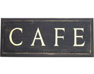 Skylt Cafe mörk shabby chic lantlig stil