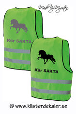 Reflexväst. Grön med Islandshäst i svart eller reflex