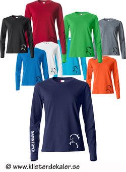 Långärmad T-shirt med islandshäst och namntryck som tillval