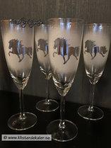 Festglas med en Islandshäst som motiv