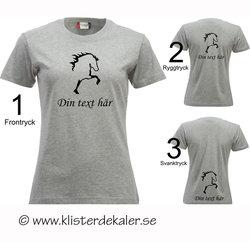 T-shirt. Islandshäst, eget namntryck samt val av placering.  (27 olika färgval, dam och unisex/herr)