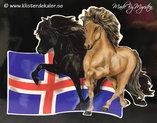 Reflexdekal bildekor Islandshästar med Islands flagga.