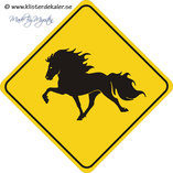 Sings, yellow-black icelandic horses