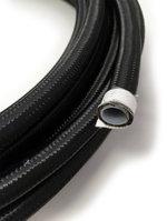 Stålomspunnen svart PTFE slang - AN8