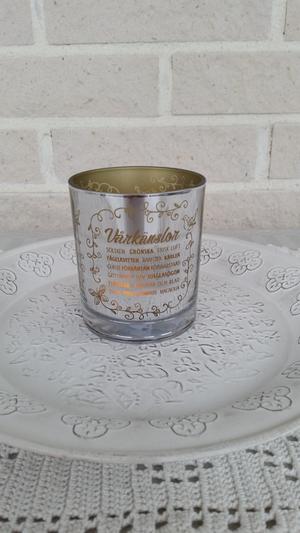 Vårkänslor, 9x10 cm. silver/salivia, majas lyktor