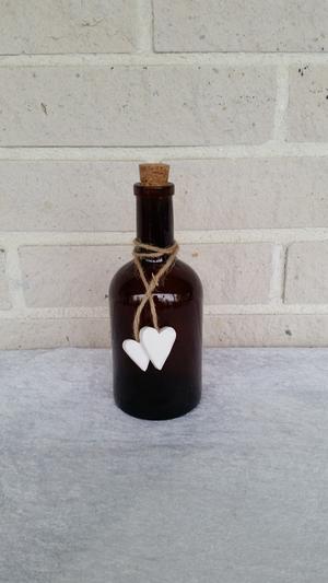 Glasflaska/kork, brun 8x18cm