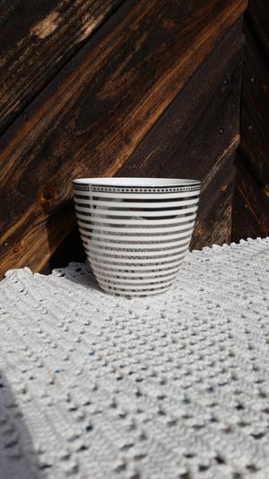 Lattemugg, stripe silver, h:9cm, greengate