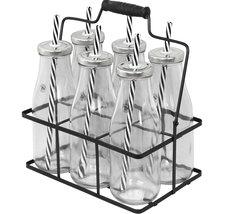 Korg med 6 glasflaskor