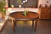 MÖRKÖ  - matbord massiv björk runt 95 cm + 2 ilägg 40 cm