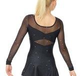 Svart långärmad klänning med meshpartier.