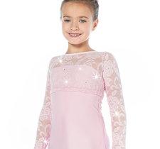 Rosa  klänning med spetsdetaljer från Sagester