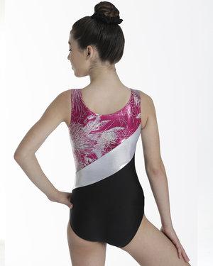Ärmlös dräkt med kjol med mönstrat metallictyg