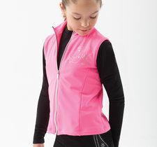 Microfleeceväst med stendekoration svart, rosa eller ljusblått