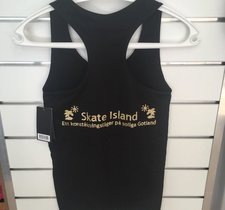 Lägerlinne med Skate Island tryck i guldglitter