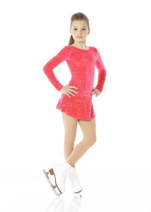 Korallröd sammetsklänning med glittermönster