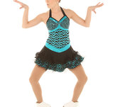 Glittrig klänning i turkos och svart