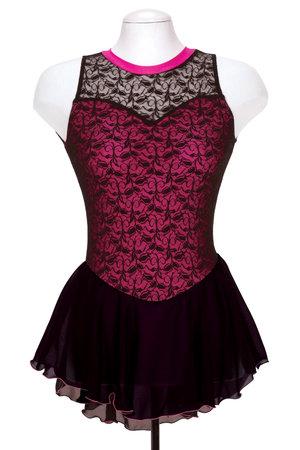 Svart spetsklänning med rosa liv