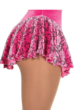 Rosa sammetskjol med glittermönster
