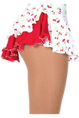 Mönstrad kjol i vitt med röda körsbär