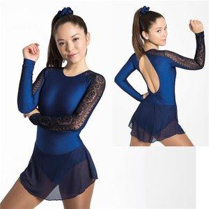 Långärmad klänning i svart och marinblå