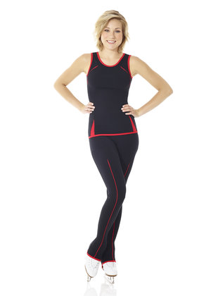 Svarta byxor med dekorränder i rött