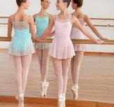 Söt dansdräkt i rosa, svart, ljusturkos eller lavendel