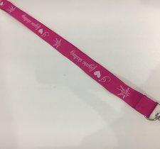 Nyckelband i rosa och vitt