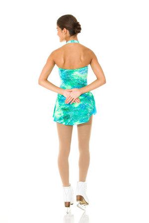 Turkosgrön mönstrad sammetsklänning med glitter