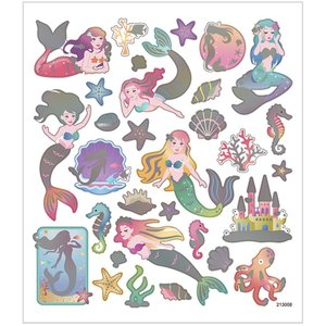 Stickers, 15x16,5 cm, öjungfru, 1ark