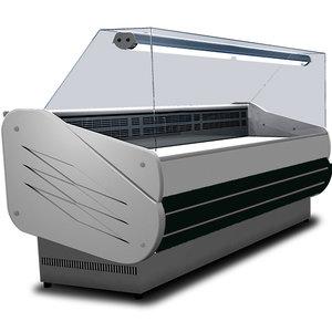 Kylbänk med vertikalt glas framtill & ventilerad kylning, 1040mm