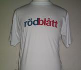 T-shirt vit, rödblått