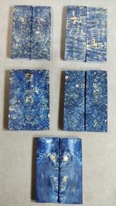 Stabilserad Maple burl Blå  - skalor
