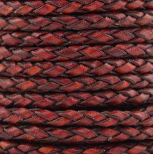 Flätad läderrem 4,0 mm