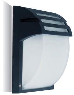 Väggarmatur LED utomhus  E27, frostat glas, matt svart