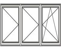 3-luft med två mittpost, DREH/DREH/DREH-KIPP, 22x13