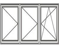 3-luft med två mittpost, DREH/DREH/DREH-KIPP, 24x11
