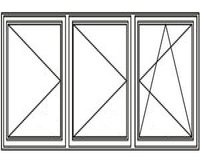 3-luft med två mittpost, DREH/DREH/DREH-KIPP, 24x12
